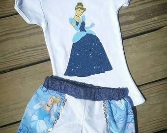 Cinderella outfit, Cinderella coachella shorts, Cinderella shirt, Cinderella matching outfit, Disney outfit