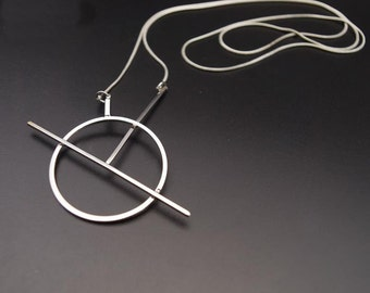 Silver Circle Geo Long Sweater Necklace