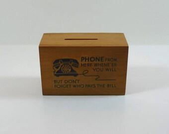Vintage Wooden Telephone Money Box, Retro Coin Box, Mid-Century Cash Box For Phone Calls, Vintage Wooden Box for Coins, Retro Phone
