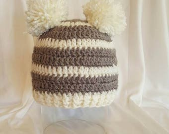 Grey and White striped hat.