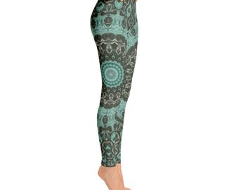 Mid Rise Leggings Yoga Green, Emerald Mandala Art Yoga Tights, Printed Yoga Pants, Green Leggings, Fashion Leggings, Womens Stretch Pants