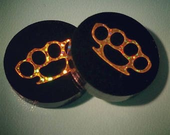 Brass knuckle acrylic disc earrings