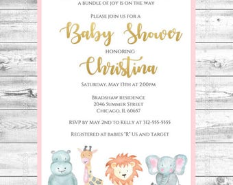 Jungle Safari Baby Shower Invitation, Safari Baby Shower, Jungle Baby Shower, Jungle Animals, Baby Shower Invite, Jungle Animal Invitation