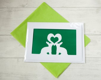 Rabbit Valentines Greetings Card. Love Cards. Rabbits In Love. Heart Cut Out. Perfect Gift For Pet Lovers. Her. Gizzys Gifts. St Valentine