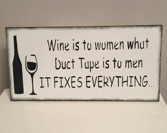 Wine women men funny friends gift shabby chic wooden sign