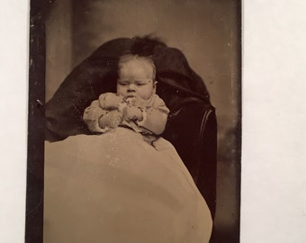 Hidden Mother Tintype - Careless Baby With a Momhawk, 19th Century Antique Photograph