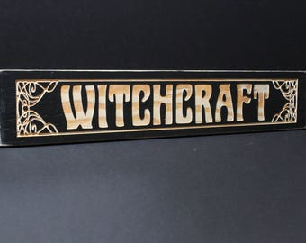 Witchcraft Sign | Carved Antique Vintage Style | Art Nouveau | Wicca Wiccan Home Decor Pagan Gothic