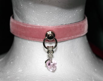 Collar - Pink Crystal Heart , choker with webbing, d ring attachment and ribbon