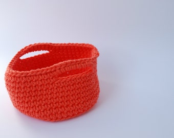 Trapillo, Orange basket, crochet basket, basket basket decoration, decoration House, circular, ready-to-send, home, gift, decoration