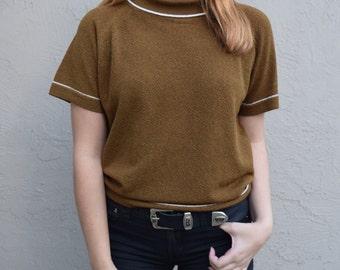 Classic vintage 1950's short sleeve mock turtleneck zip up back sweater blouse 100% Dacron polyester women's size medium