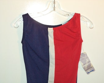 Rock a bodysuit// 80s NEW athletic tank top dance exercise leotard// Vintage Parklane USA/ Women XS small 2 4 6