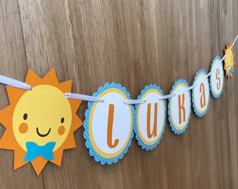 "Personalized ""You Are My Sunshine"" Birthday Party Name Banner in Blue - Boys Birthday, Baby Shower, First Birthday"