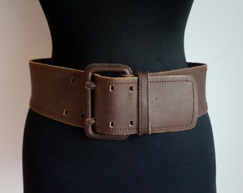 Brown thick slouch leather waist belt, wider in front, double needle leather covered buckle, small size, vintage fashion accessories