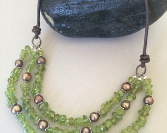 Peridot Necklace, Pearl Necklace, Leather Necklace, Peridot Bib Necklace, Green Necklace
