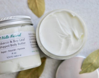 Tobacco and Bay Leaf Body Butter, Men's Moisturizer, For Him, Whipped Body Cream, Natural Lotion, Repairing Nourishing Hydrating Body Butter
