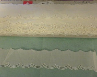 """Swiss Embroidered 2 yds Vintage Ivory Cotton Scalloped Edging by 1-1/4 """" PIeces"""