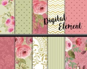 Digital Paper, Digital Scrapbook Paper, Pink Shabby Rose Watercolor Paper, Vintage Pink with Gold Rose Scrapbook Paper. No. P172