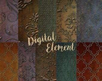 ON SALE Digital Paper, Digital Scrapbook Paper, Background Texture Paper, Digital Background Photo Textures, Gold Texture Paper. No. P133