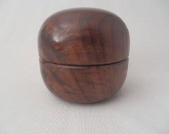 Black Walnut Crotch Wooden Lidded Jewelry Box Handmade