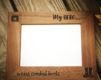 Military Picture Frame, Army Wife, Army Husband, Army Daughter, My hero wears combat boots, Custom Picure Frame, Military Gift, Christmas