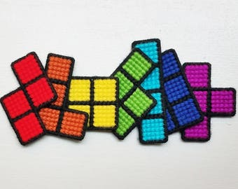 Tetris Magnets - Video Game Decor - Pixel Art - Retro Video Game - Nerd Decor - Nerd Home - Office Decor - Kitchen Decor