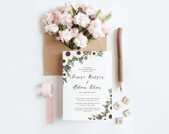 Wedding Invitation RSVP Set - Floral Anemones & calligraphy script