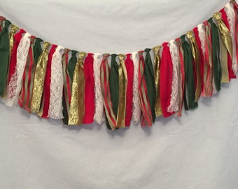 Christmas Garland/Striped Christmas Garland/Green and Red Garland/Fabric Garland/Mantel Garland/Holiday Garland/Christmas Decorations
