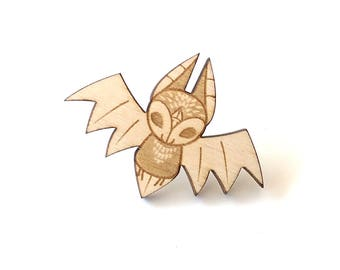 Bat Laser Etched Wood Pin