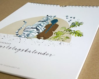 Birthday calendar, ink illustrations, animals