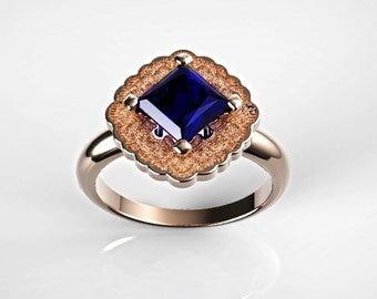 Rose Gold Sapphire  Engagement Ring, Halo Engagement Ring, Gold Sapphire Ring, Blue Sapphire Ring, White Gold, Princess Cut Engagement  Ring