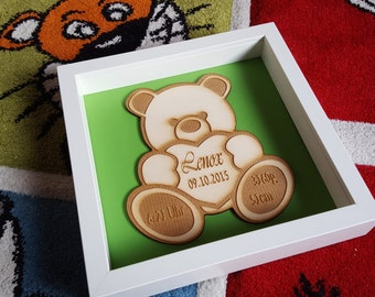 Gift for baptism, birthday, bear, baby, Lasercut,