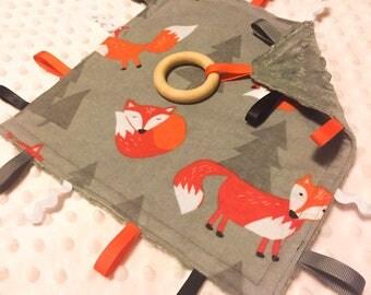 Handmade Baby/Toddler/Child Sensory Taggie Blanket Comforter Boy Shower Gift