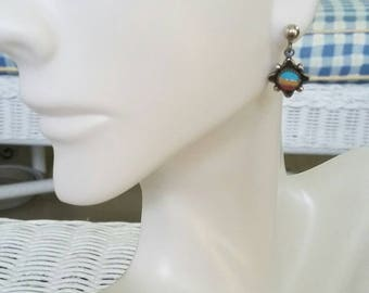 Dainty colorful sterling silver southwestern dangle drop earrings