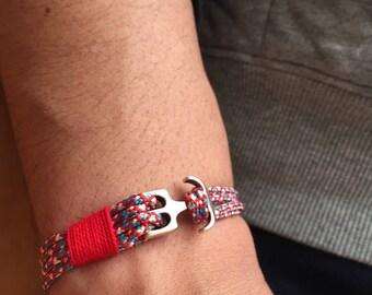 Paracord man multi red metal bracelet nautical cord bracelet / cord bracelet metal hook crochet bracelet Men / lesptitskdo