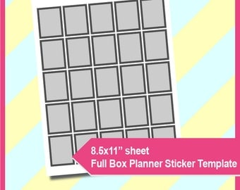 "Full Box Planner Sticker Template,  PSD, PNG Formats,  8.5x11"" sheet,  Printable 084"