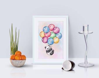 Panda artwork,  Panda watercolour, Panda print , Panda artwork, Panda Elephant , Panda painting