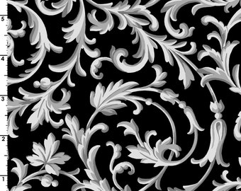 Black and White or Fifty Shades of the Same - Per Yd - Maywood Studio - Scrolls on Black