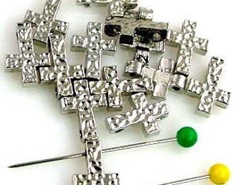 14 Cross Christian 2 Hole Slider Beads 10626-f10