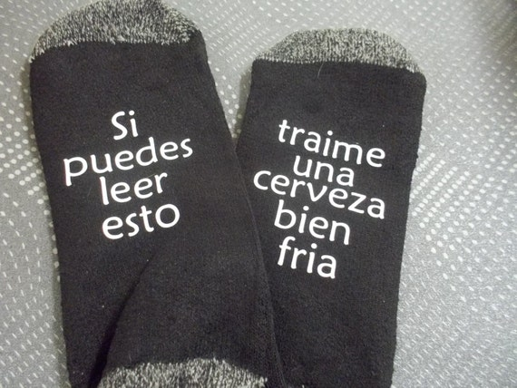 Customized gift socks for  dad husband brother funny saying in Spanish