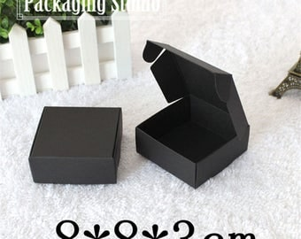 new 100ps Retail Black Gift Package Boxes Craft Gift Handmade Soap Packaging Kraft Paper Boxes 8*8*3cm