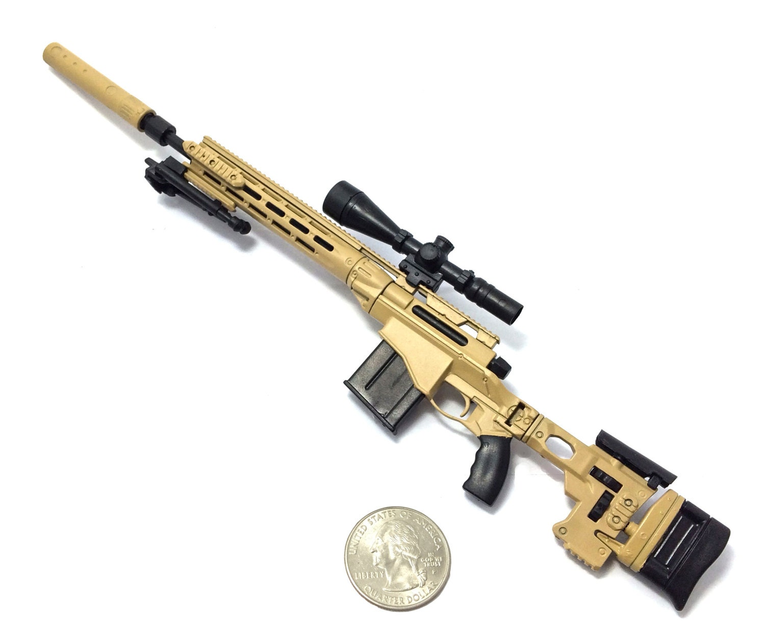 1/6 Scale Custom Made Desert MSR Sniper Rifle US Army