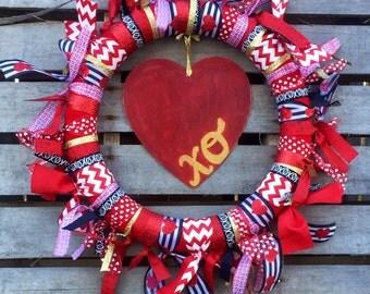 Valentine's Day Wreath/ Ribbon Wreath/ Holiday Wreath / Holiday Ribbon Wreath / Holiday Door Decor / Valentine's Day Decor