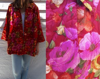 Quilted Robe / Floral Robe / Vintage Robe