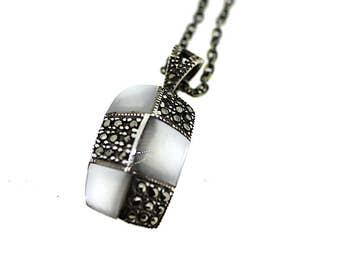 Vintage Silver Marcasite and Mother of Pearl Pendant / Mother of Pearl Pendant / Marcasite Pendant / Pearl Necklace / Silver Pearl Necklace