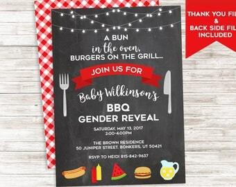 BBQ Gender Reveal Invitation Invite Barbecue Picnic Party Backyard Digital 5x7 Personalized