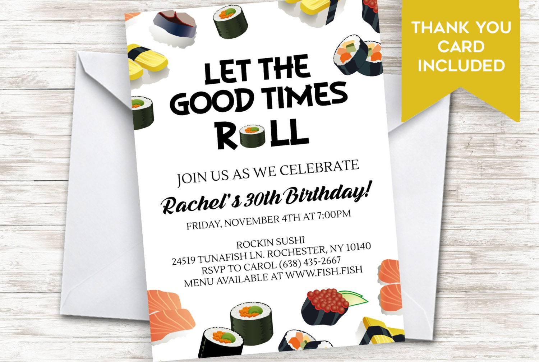 Sushi Invite Dinner Party Birthday Invitation Adult X - Birthday invitation in japanese
