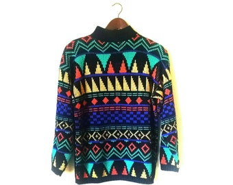 Dope 1980s bright neon abstract hipster club kid grunge ski sweater