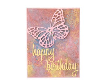 Birthday Card, Happy Birthday, Butterfly Card, Fancy Handmade Card, Pink Butterfly, Birthday Wishes Card, handmade by TwoSistersGreetings