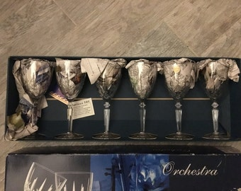 1970s Vintage New in Box Made in Italy Capri Orchestra Crystal Goblets (set of 6)