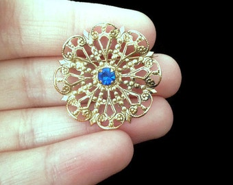 Dainty Jewelry - Christmas Brooch - Intricate - Brooches and Pins - Holiday Brooch - Something Blue - Gold - Blue - Gift for Her - Vintage
